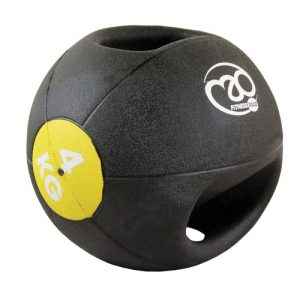 Fitness-Mad 4kg Double Grip Medicine Ball – Black/Yellow