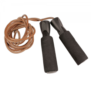 Fitness-Mad Adjustable Leather Weighted Speed Rope – Brown/Black