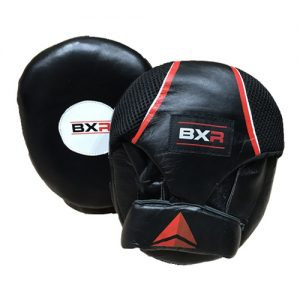 BXR Supreme Leather Air Pads / Hook and Jab Pads – Black/Red