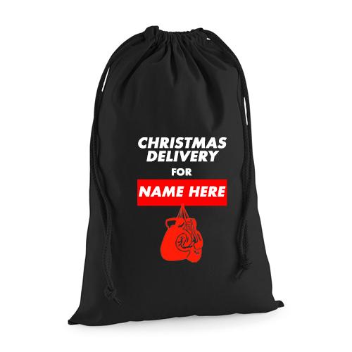 Personalised Christmas Boxing Sack – Black