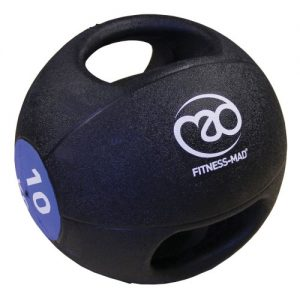 Fitness-Mad 10kg Double Grip Medicine Ball – Black/Blue