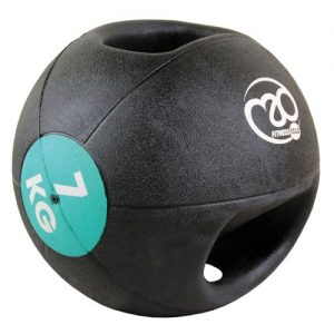 Fitness-Mad 7kg Double Grip Medicine Ball – Black/Teal