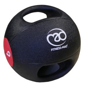 Fitness-Mad 9kg Double Grip Medicine Ball – Black/Red