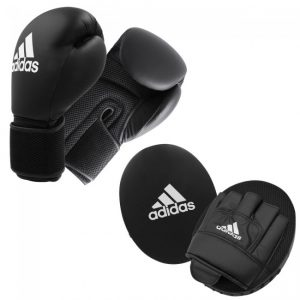 Adidas Adult Glove & Pad Boxing Kit – Black/White