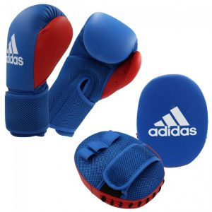 Adidas Kids/Junior Glove & Pad Boxing Kit – Blue/Red