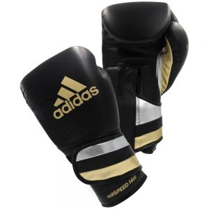 Adidas AdiSpeed Hook and Loop Boxing Gloves – Black/Gold/Silver