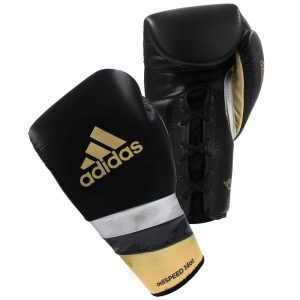 Adidas AdiSpeed Lace Up Boxing Gloves – Black/Gold/Silver
