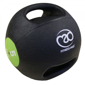 Fitness-Mad 5kg Double Grip Medicine Ball – Black/Green