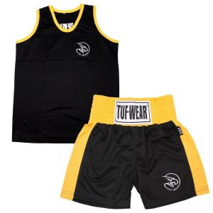 Tuf-Wear Club Junior/Kids Boxing Short and Vest Set – Black/Gold