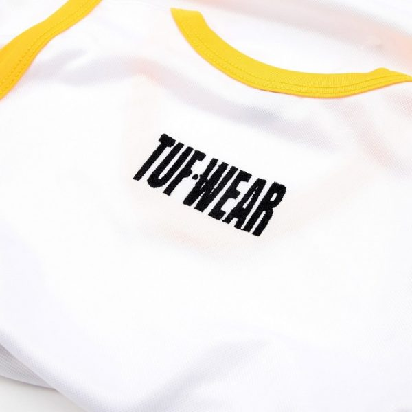 Tuf-Wear Club Junior/Kids Boxing Short and Vest Set – White/Gold