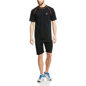 Swelter Sweat Suit Base Layer Short and T-Shirt Set – Black/Orange
