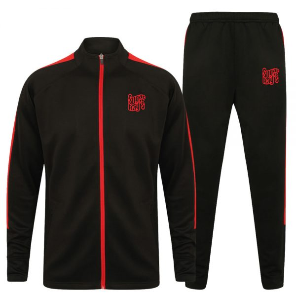 Sugar Ray's Junior Slim Fit Knitted Tracksuit – Black/Red