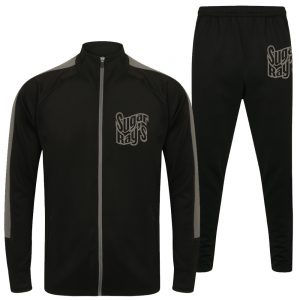 Sugar Ray's Adult Slim Fit Knitted Tracksuit – Black/Grey