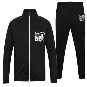Sugar Ray's Adult Slim Fit Knitted Tracksuit – Black/White