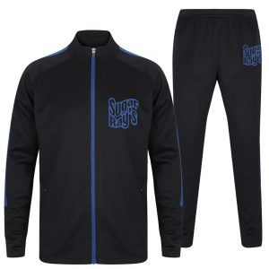 Sugar Ray's Adult Slim Fit Knitted Tracksuit – Black/Blue