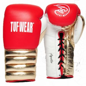 Tuf Wear Apollo Metallic Lace Leather Sparring Glove – Red/White/Rose Gold