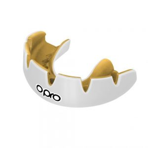 OPRO Power-Fit Braces Solid Colours – White and Gold