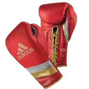 Adidas AdiSpeed Lace Boxing Gloves Metallic – Red/Silver/Gold