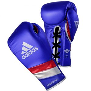 Adidas AdiSpeed Lace Boxing Gloves Metallic – Blue/Red/Silver