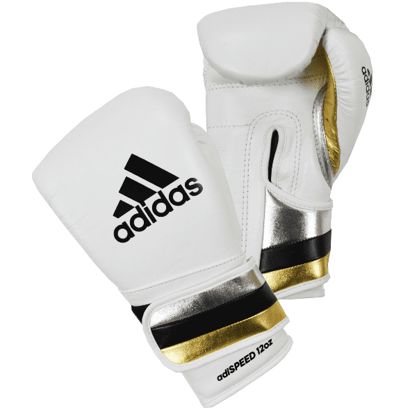 Adidas AdiSpeed Hook and Loop Boxing Gloves – White/Gold