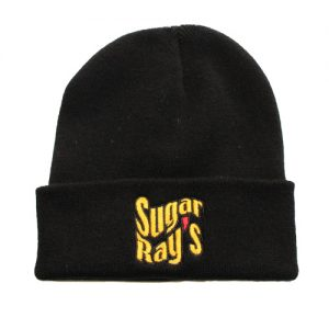 Sugar Ray's Fold Over Boxing Wooly Hat/Beanie – Black