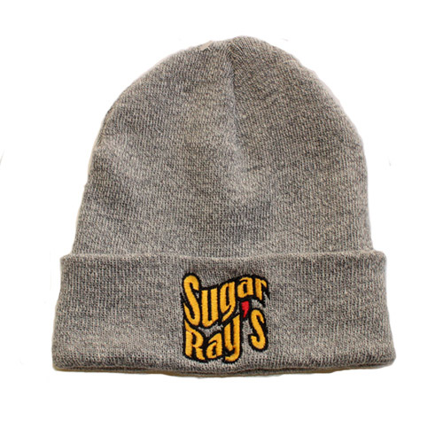 Sugar Ray's Fold Over Boxing Wooly Hat/Beanie – Light Grey