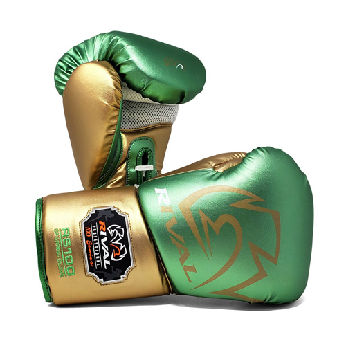 Rival RS100 Professional Lace-Up Sparring Glove – Green/Gold