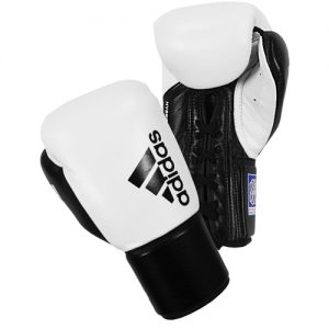 Adidas Hybrid 400 BBBC Approved Lace Boxing Gloves – White/Black