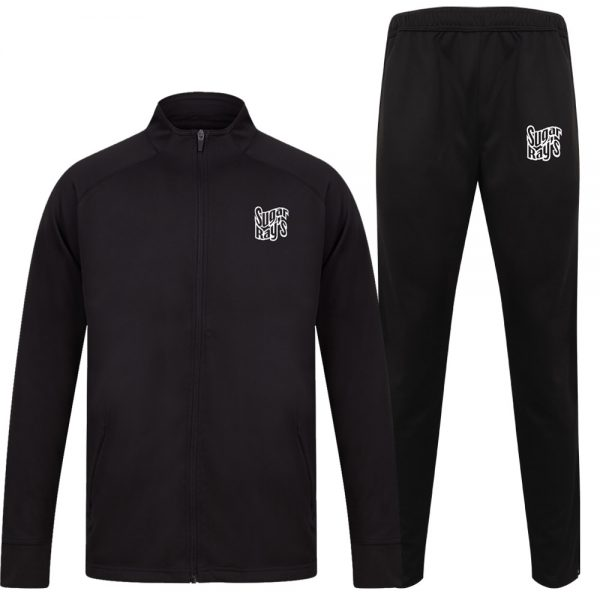 Sugar Ray's Adult Slim Fit Knitted Tracksuit – Black