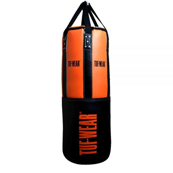 Tuf-Wear 3.5FT 16inch Diameter Punchbag Nylon / Leather 40KG – Black/Orange