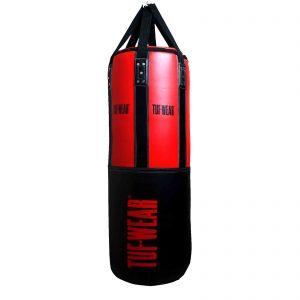 Tuf-Wear 4FT 18inch Diameter Punchbag Nylon / Leather 50KG – Black/Red