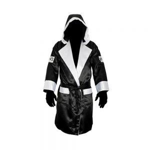 Cleto Reyes Satin Boxing Robe with Hood – Black/White