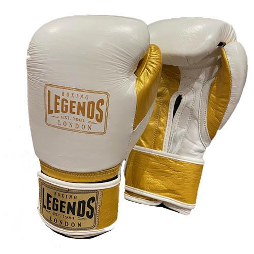 Legends London Pro Spar Leather Sparring Glove – White/Gold
