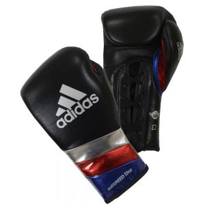 Adidas AdiSpeed Lace Up Boxing Gloves – Black/Silver/Red/Blue