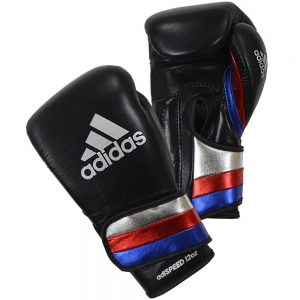 Adidas AdiSpeed Hook and Loop Boxing Gloves – Black/Silver/Red/Blue