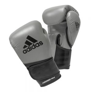 Adidas AdiSpeed Hook and Loop Boxing Gloves – Grey/Black