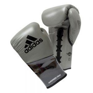 Adidas AdiSpeed Lace Up Boxing Gloves – Grey/Black