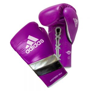 Adidas AdiSpeed Lace Up Boxing Gloves – Purple/Black/Silver