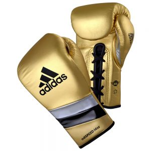 Adidas AdiSpeed Lace Up Boxing Gloves – Gold/Black/Silver