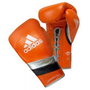 Adidas AdiSpeed Lace Up Boxing Gloves – Orange/Black/Silver