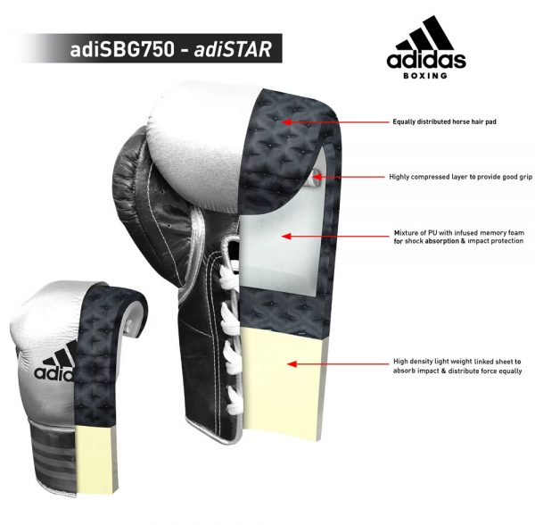 Adidas AdiStar 3.0 BBBC Approved Pro Boxing Gloves – White