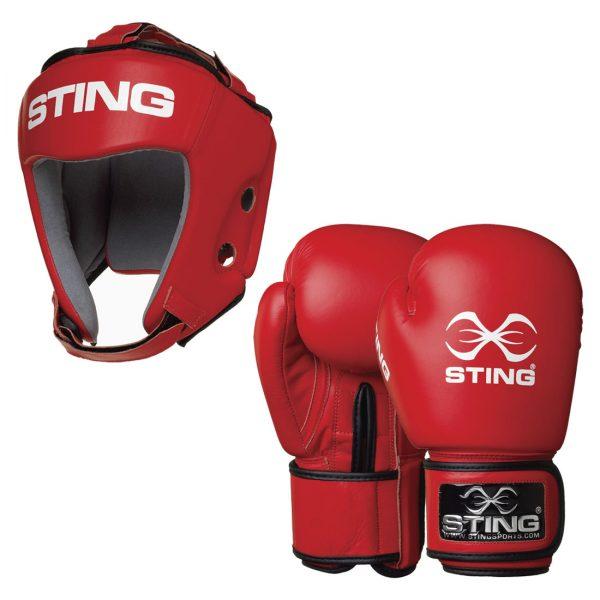 Sting AIBA Boxing Set – Glove + Headguard – Red