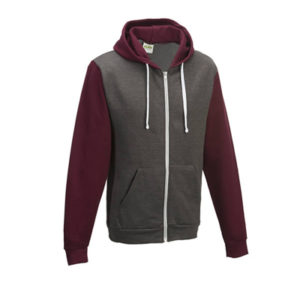 UNBRANDED Retro Zoodie – Charcoal Grey/Burgundy