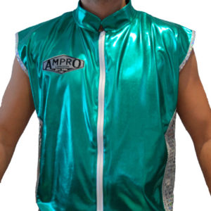 Ampro Custom Made Wet Look Sleevless Ring Jacket POA
