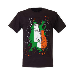 Boxing Gloves Ireland Paint Splat T-Shirt – Black/Green