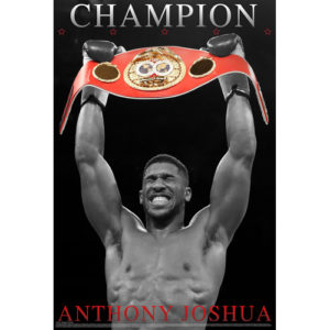 Boxing Legends Anthony Joshua 'Champion' Poster – Black/White/Red
