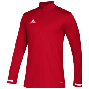Adidas Men's T19 1/4 Zip Long Sleeve Top – Red