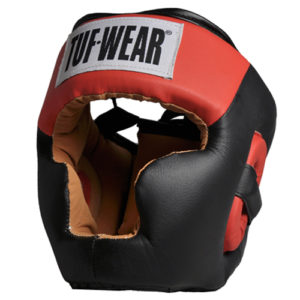 Tuf-Wear Full Face Headguard with Chin – Black/Red