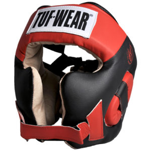 Tuf-Wear Headguard with Cheek Synthetic Leather – Black/Red