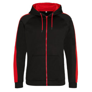 UNBRANDED Contrast Sports Polyester Zip Up Hoodie / Zoodie – Black/Red